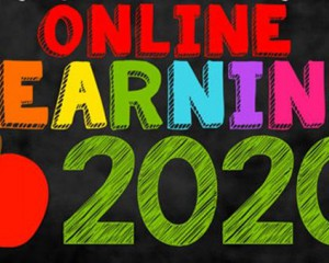 text that reads online learning 2020
