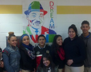 INT Students in front of MLK Dream Artwork