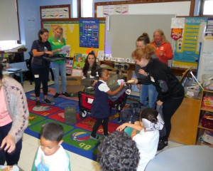 Lawlor students receiving timberland gifts