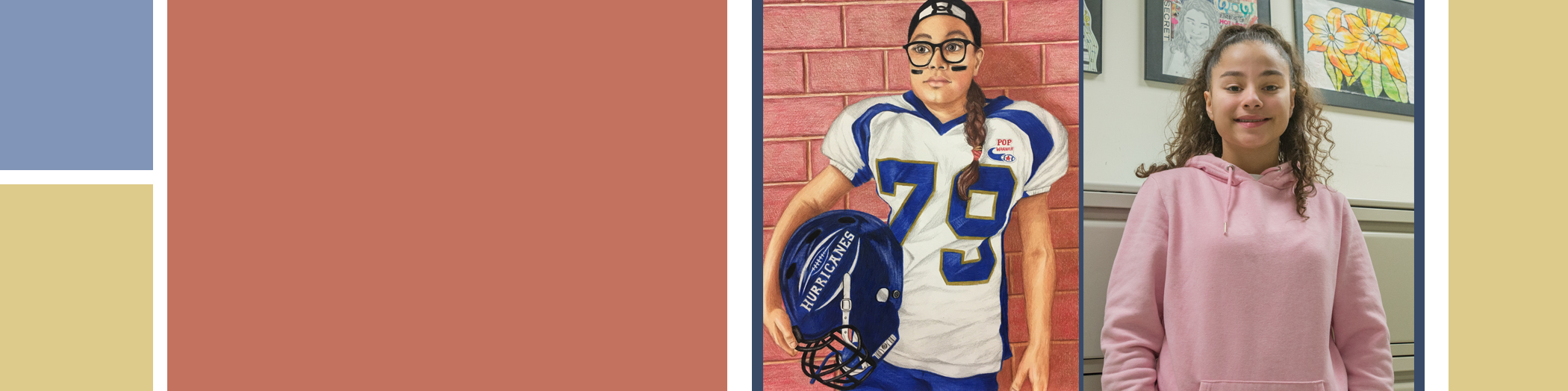 self portrait of Gold Key Winner in Pop Warner uniform and photo of student at right